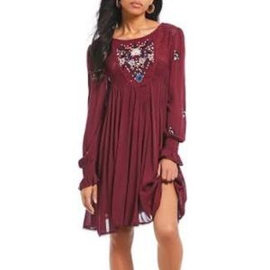Free People Mohave Embroidered Mini Dress In Plum